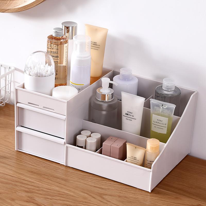 大号化妆品收纳盒宿舍桌面首饰盒整理盒抽屉式梳妆台护肤品置物架