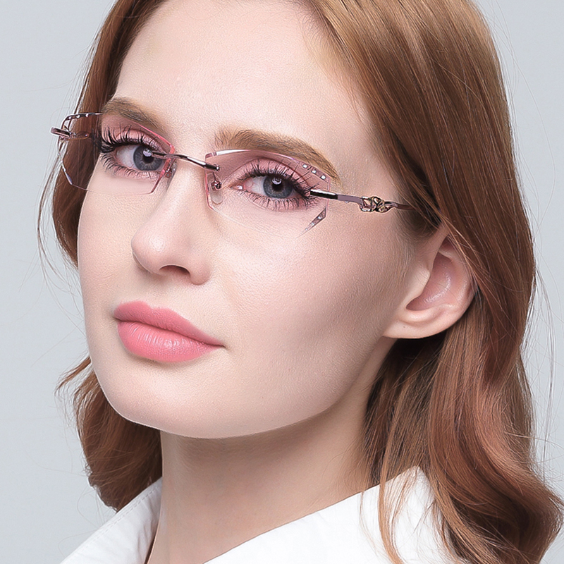 Color changing ultra light frameless diamond with myopia frame