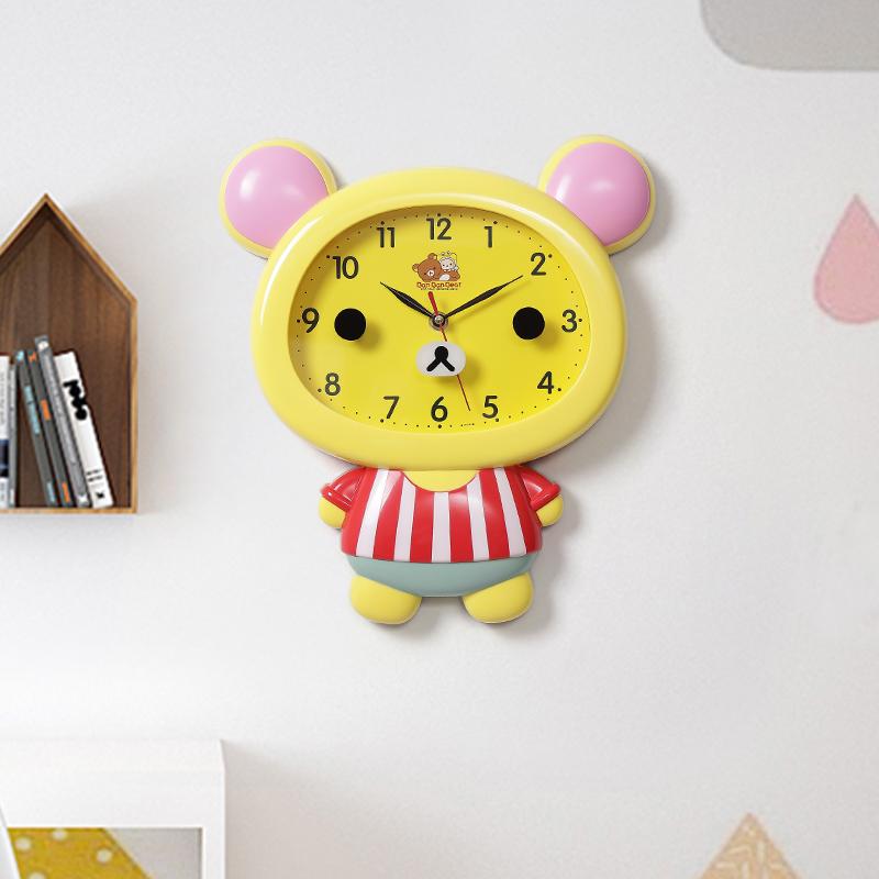 房间挂墙儿童挂钟客厅可爱超静音家用动物卧室个性创意卡通时钟表 Изображение 1