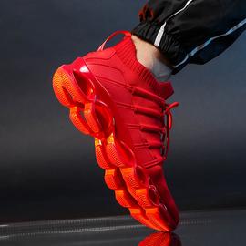 男鞋秋冬季2020新款运动休闲跑步鞋防滑软底轻便针织网面透气红色
