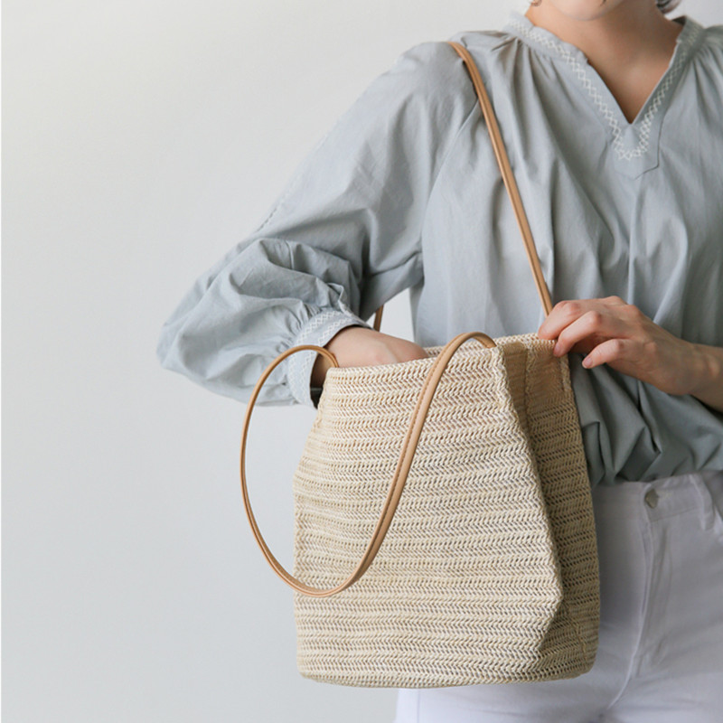 草编包包女包夏天小清晰2020新款百搭编织包单肩包沙滩包 手提包
