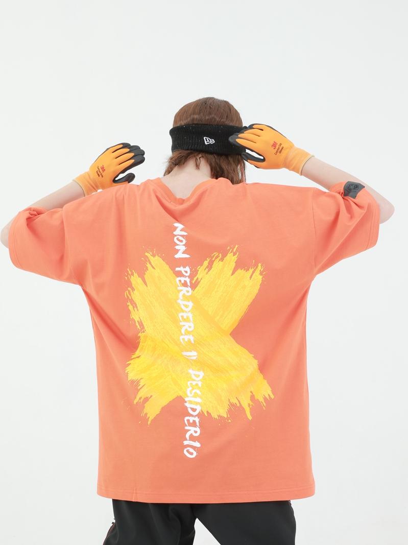 PCMY二代涂鸦刷漆标语印花潮流国潮牌T恤男女情侣同款短袖宽松