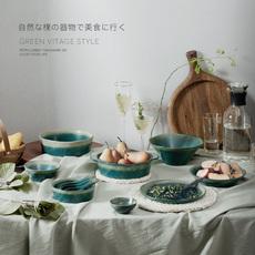 一人食北欧陶瓷餐具套装日式水果沙拉碗碟盘餐厅复古绿饭碗汤面碗