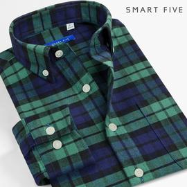 休闲格子衬衫男长袖秋季青年修身纯棉加厚磨毛绿色格纹法兰绒衬衣图片