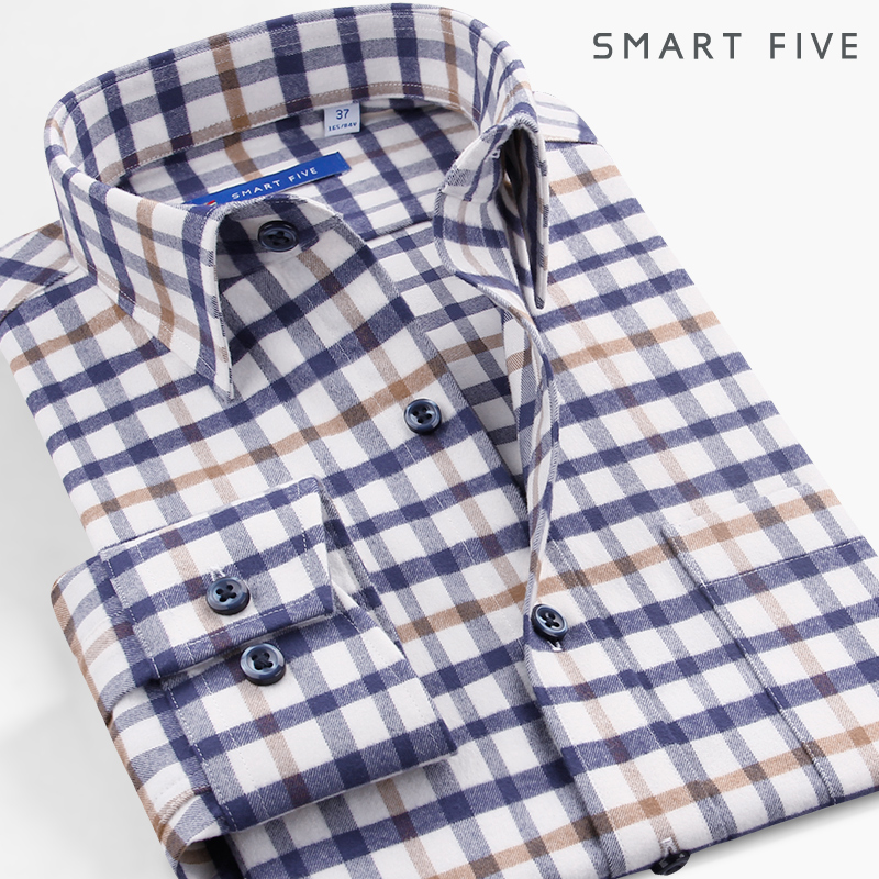 The fifth season pure cotton plaid shirt men's long-sleeved casual flannel brushed thickening men's shirt warm plaid winter