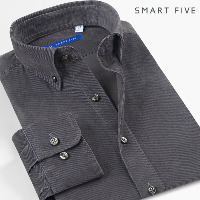 The fifth season Japanese casual cotton corduroy shirt men's long-sleeved autumn and winter cotton retro solid color slim thick shirt