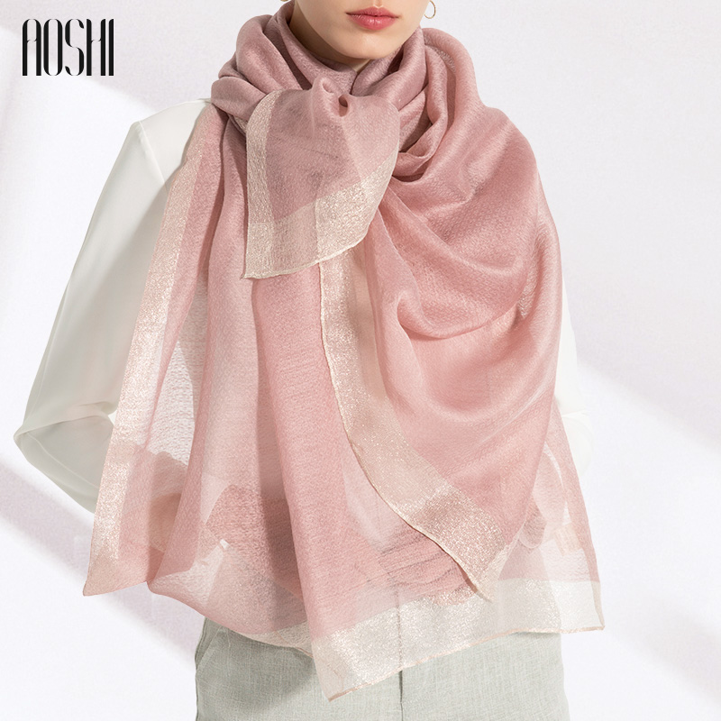 Aoshi 21 year versatile new silk wool scarf autumn and winter womens long versatile silk scarf mulberry silk shawl high grade