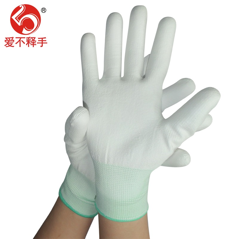 Gloves labor protection wear-resistant anti-skid belt rubber dipping thickened rubber nylon thin type male anti-static work site