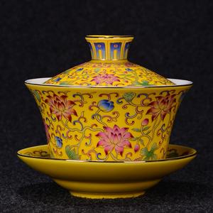 珐琅彩盖碗茶杯大号茶碗万花青花粉彩功夫茶三才敬茶碗杯陶瓷茶具