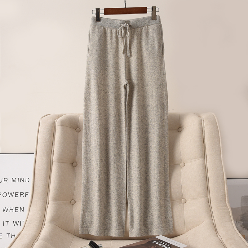 Cashmere knitted wide leg pants wear solid color thickened warm high waist loose casual womens autumn and winter European New