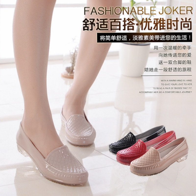Casual shoes, rain shoes, womens kitchen, home work, flat bottom waterproof and antiskid water shoes, shallow mouth, low tube rubber shoes, mom