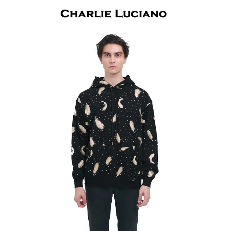 Charlie Luciano feathered Hoodie Sweatshirt loose fit fall / winter Unisex casual Hoodie