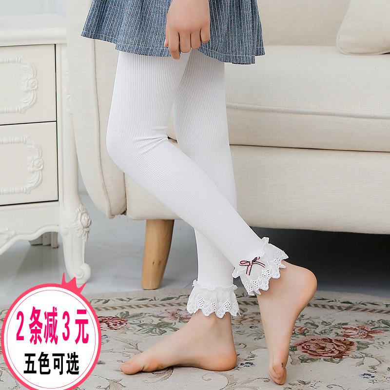 女童连裤袜春秋新款儿童宝宝白色裤袜纯棉蕾丝花边舞蹈九分打底裤