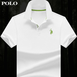 夏季保羅衫男士短袖T恤絲光棉 寬松翻領純色POLO衫商務男裝體恤圖片