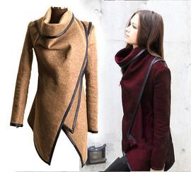 秋冬新款速卖通ebay欧美修身气质毛呢大衣风衣外套 女