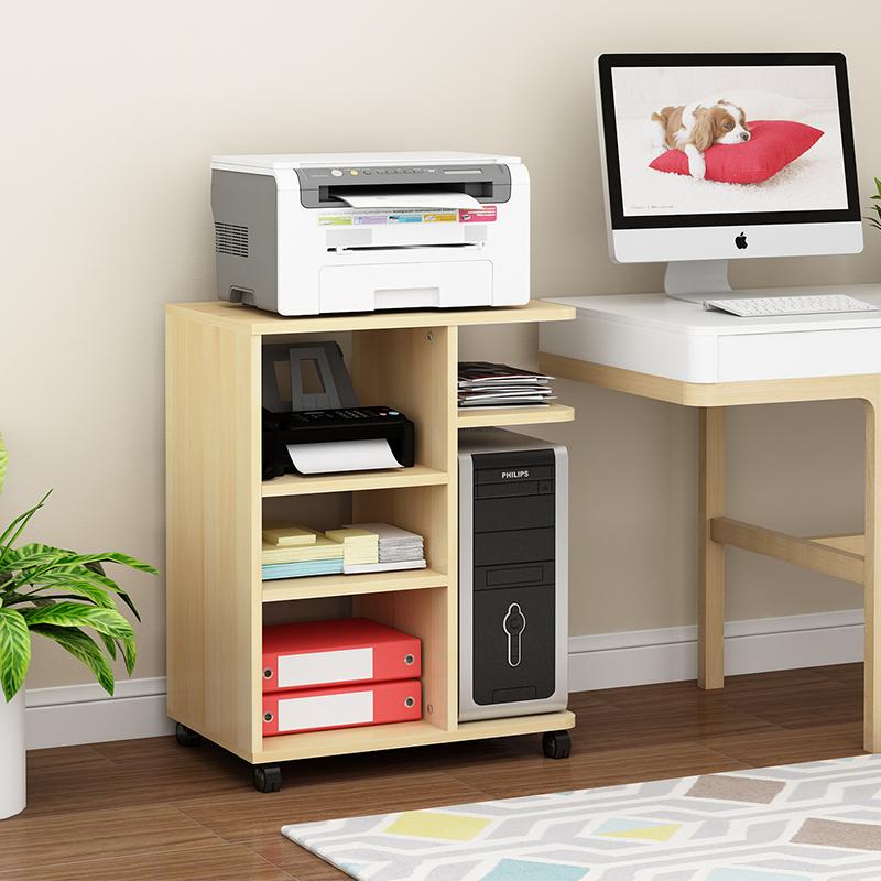 打印机架子多层收纳架办公置物架实木落地移动主机柜架桌边柜定制