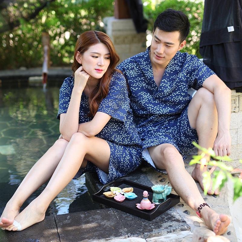 新款全棉情侣汗蒸服韩版大码男女浴服家居休闲养生服和服桑拿服