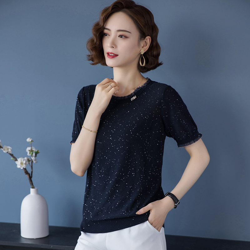 Half sleeve T-shirt womens clothing 2021 new fashion show thin blouse Sequin loose top womens black round neck sleeve