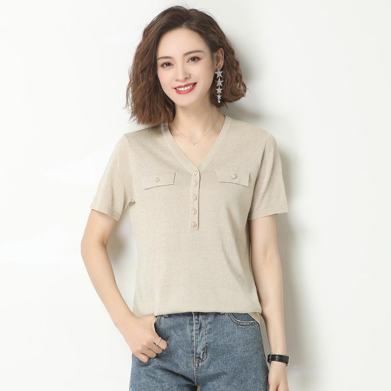 Short sleeve t-shirt female 2021 early spring new fashion thin ice silk t-shirt female loose short bright silk V-neck top