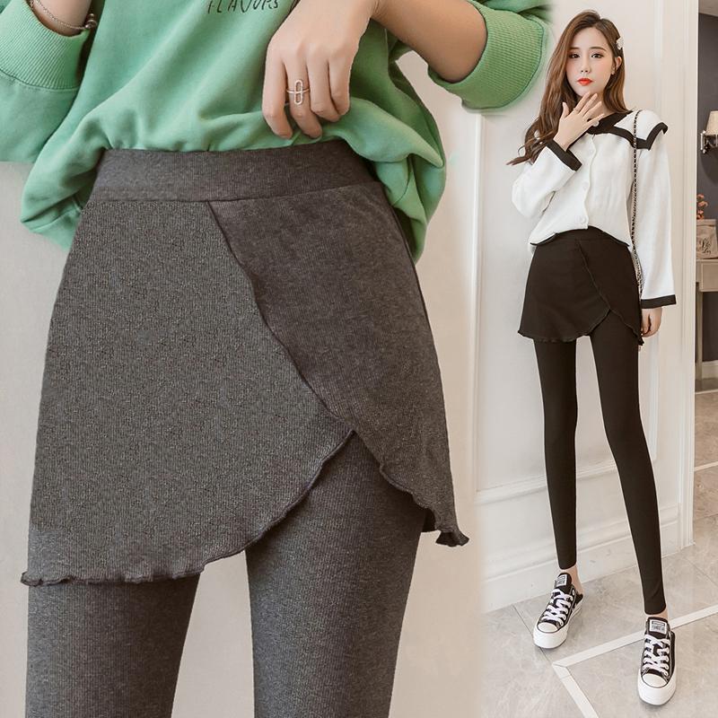 11-08新券微胖女孩穿搭适合胯大腿粗的裙子胖妹妹假两件秋季新款外穿打底裤
