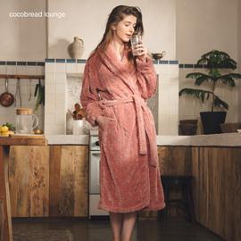 2020年新款睡衣女秋冬中长款珊瑚绒加绒加厚法兰绒家居服睡袍浴袍图片