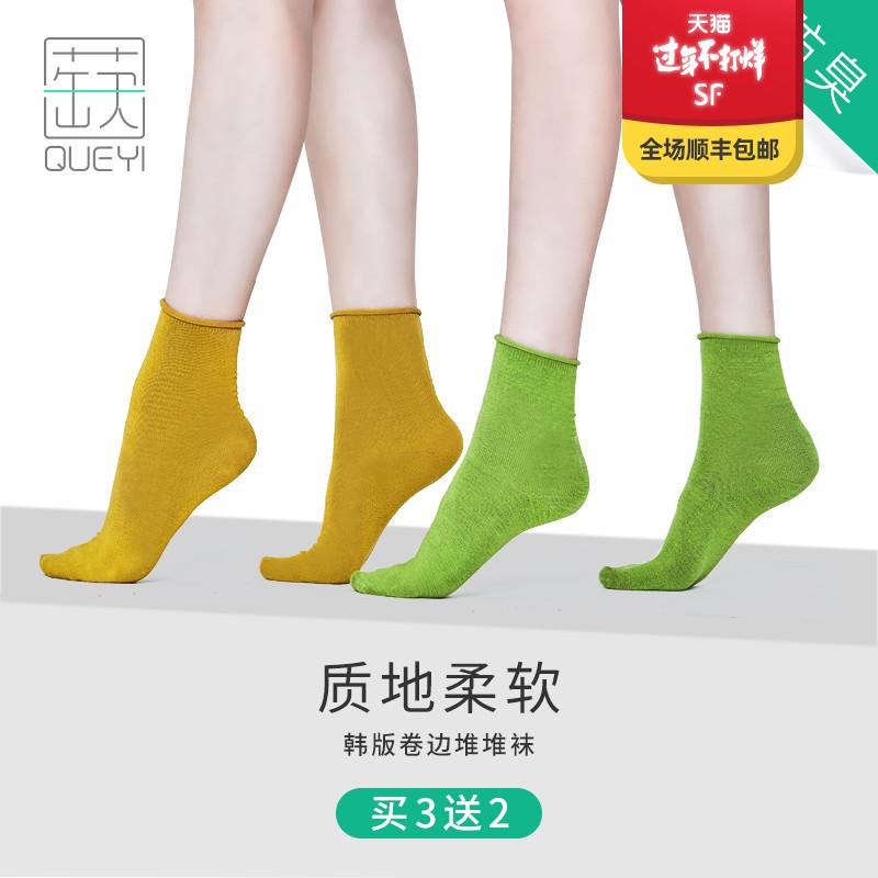 蒛一堆堆袜子女春秋款潮薄款夏天学生中筒袜女韩国韩版ins夏季