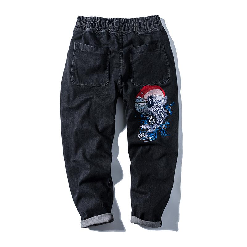 国潮鲤鱼刺绣中国风男潮日系牛仔裤质量怎么样