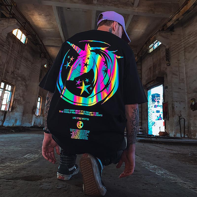 oversize宽松hiphop潮牌反光短袖T恤男潮大码男装潮流情侣装夏装