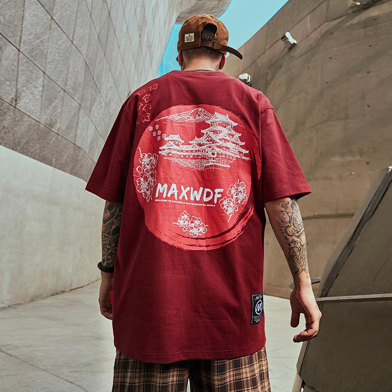 日系中国风涂鸦潮牌半袖潮流情侣装大码男装宽松国潮短袖T恤男潮
