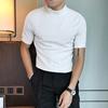 秋冬潮男短袖纯色打底衫半高领韩版修身潮流社会时尚小伙中领T恤