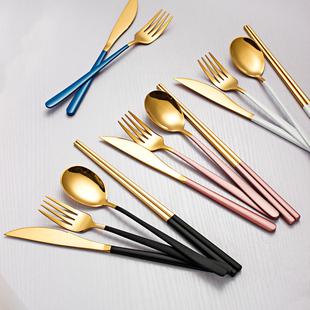 304不锈钢刀叉勺筷网红餐具ins风餐套装三件套西餐牛排刀叉套装价格