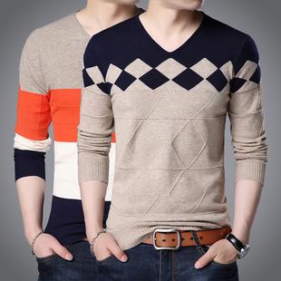 男士秋季V领长袖T恤打底衫青年韩版修身毛衣男装潮流大码针织线衣