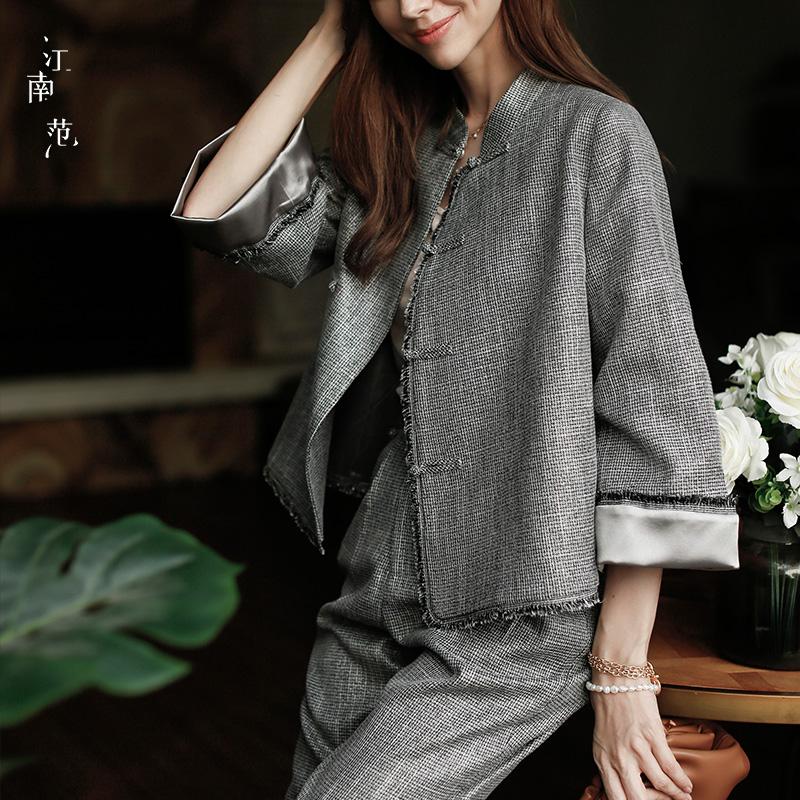 江南范新式改良旗袍外套女秋冬短款小香风汉元素中式唐装开衫上衣