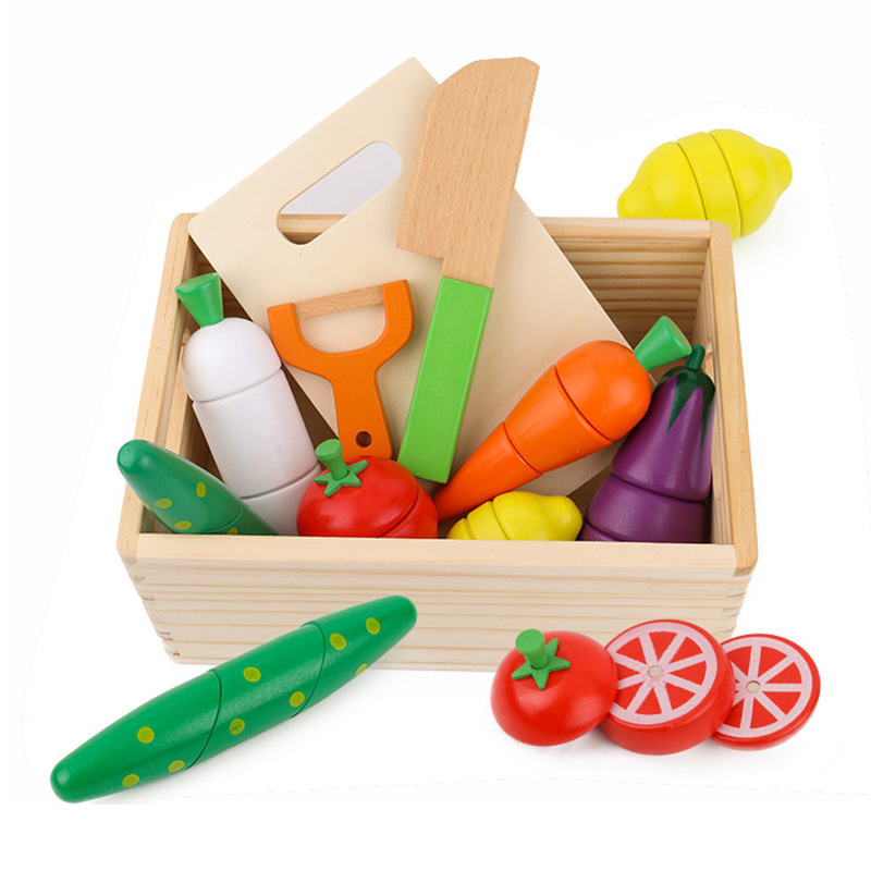 Childrens Wooden family toy imitation wooden box cloth bag fruit and vegetable cutting music magnetic barreled kitchen