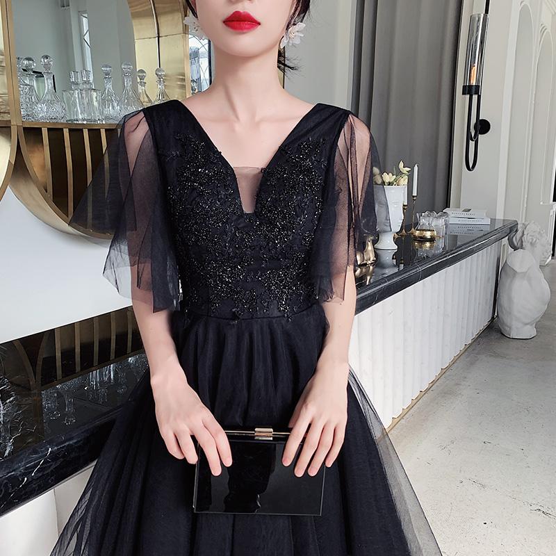 12-02新券黑色小晚礼服裙女2019新款高贵宴会气质小个子主持人短款平时可穿