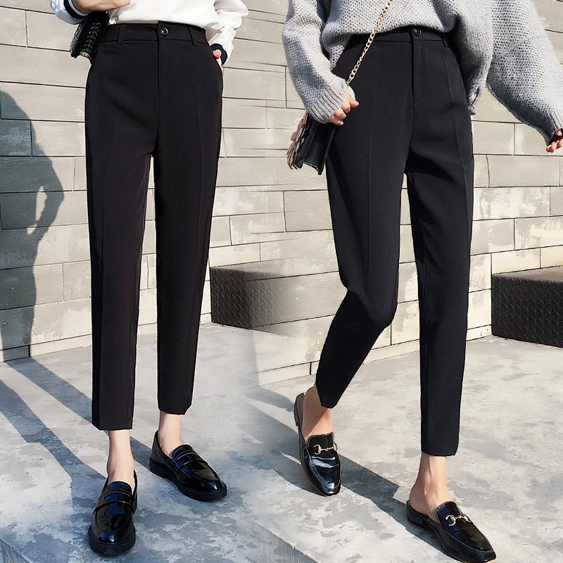 春夏季薄款西裤女装长裤修身小脚裤黑色职业直筒裤九分休闲女裤子
