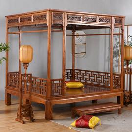 明清仿古红木新中式实木榆木雕花千工月洞架子床拔步踏步床双人床图片