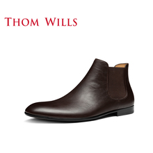 Thomwills Chelsea Boots Men's winter leather England retro short boots high top shoes Martin boots