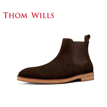 Thomwills Chelsea Boots Men's leather British Martin boots trend short boots winter high top leather shoes