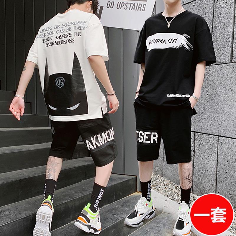 男裝一套搭配帥氣夏短袖T恤潮流學生運動兩件套裝暗黑系一身衣服