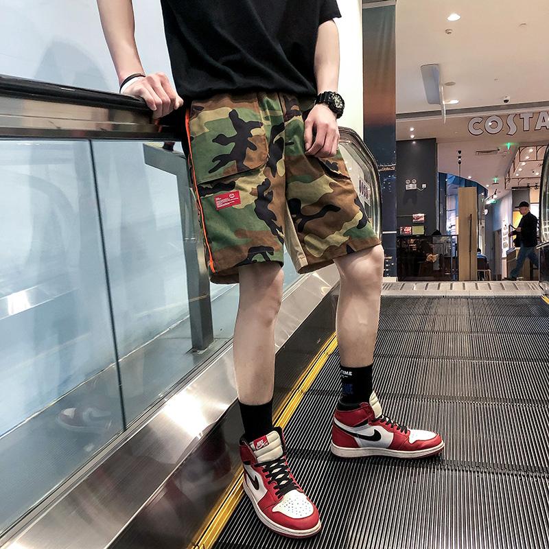 短褲男夏季外穿5分褲子大碼寬松五分褲學生潮牌ins迷彩純棉多口袋