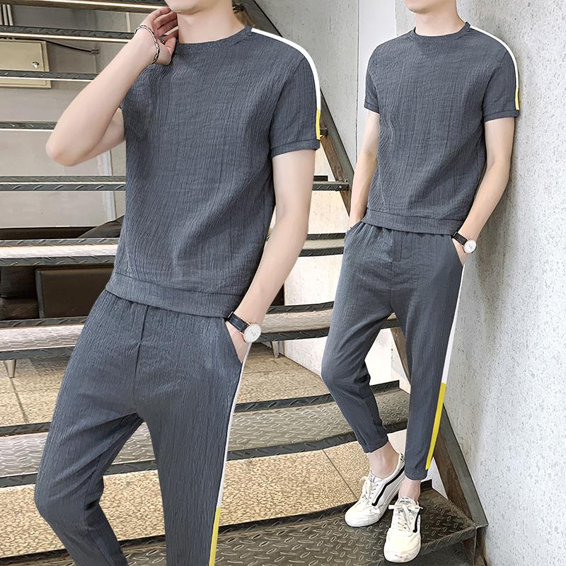 夏季短袖冰絲t恤T男士套裝薄款潮流亞麻棉男裝一套搭配帥氣成熟風