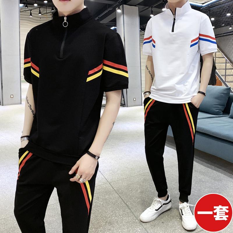 夏季短袖T恤男立領運動兩件套裝潮牌男裝一套搭配學生帥氣暗黑系