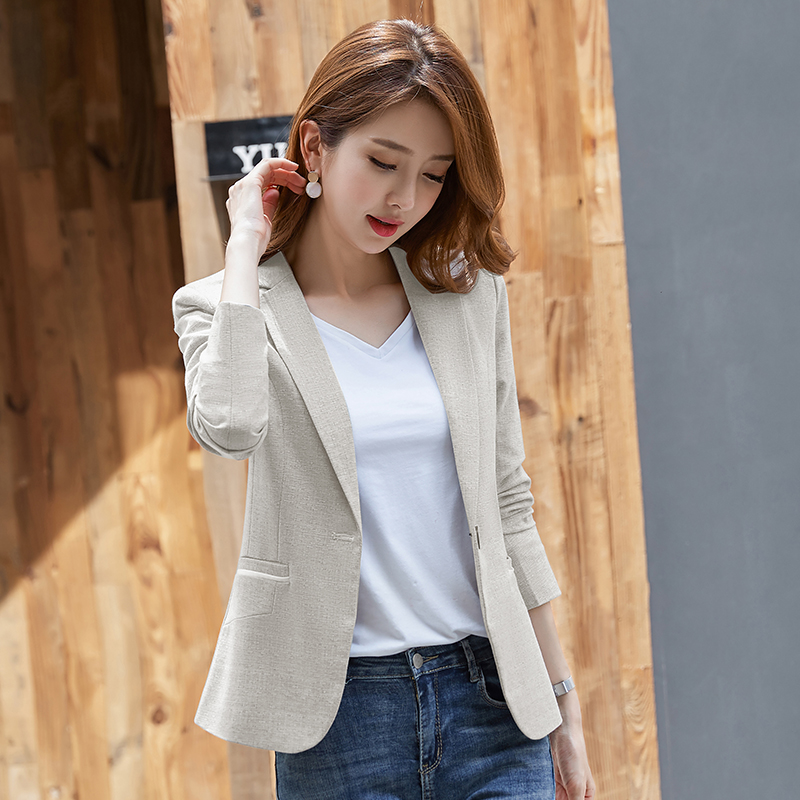 Small suit outside women's short top 2021 spring autumn new slim wild small son suits leisure Korean version