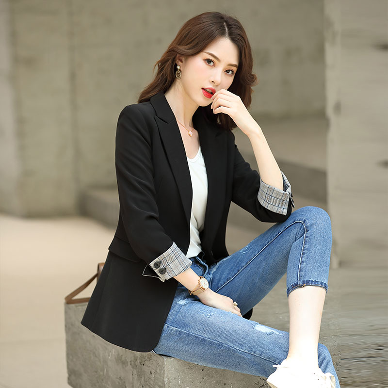Black small suit jacket women's jacket 2021 spring and autumn new temperament casual suit suit British style Korean version