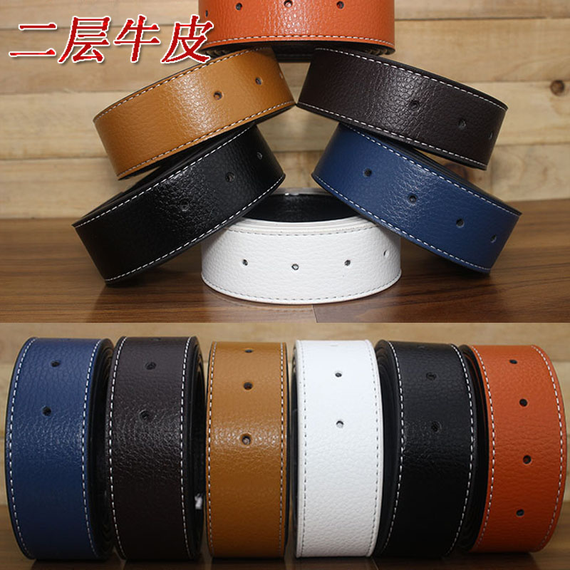 3.3cm no head real belt drilling no head smooth buckle leather belt body no buckle 3.7cm youth belt