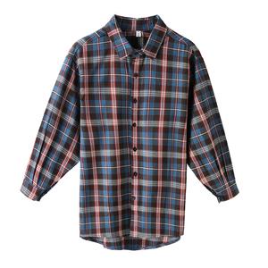 2021年春季新款磨毛格子复古衬衫