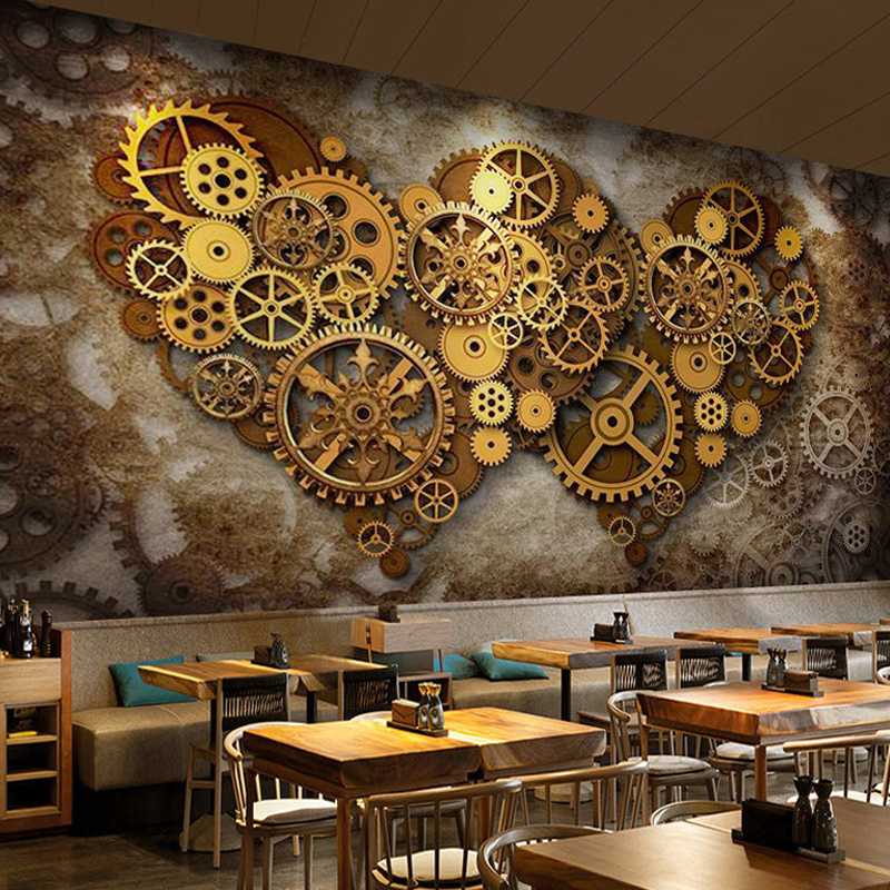 3D heavy metal gear theme mural industrial style wallpaper coffee shop restaurant background wallpaper milk tea shop wallpaper
