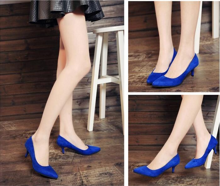 Royal blue wedding shoes light mouth Lolita pointed thin heel medium high heels suede spring and autumn black red womens single shoes