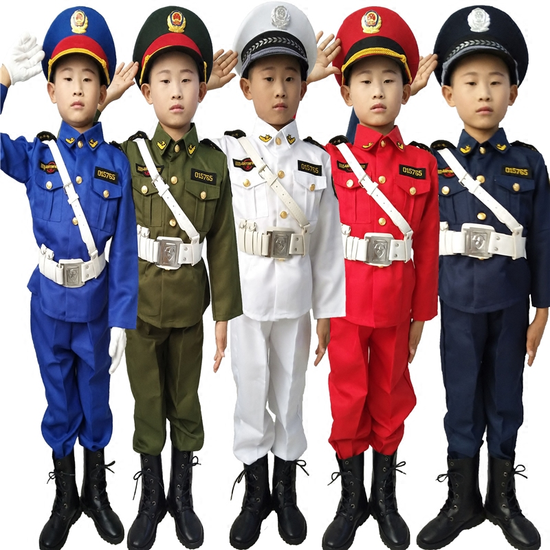 Jin Shuangxi childrens Sea King uniform honor guard flag lifter uniform drum beating uniform sea land air performance Costume